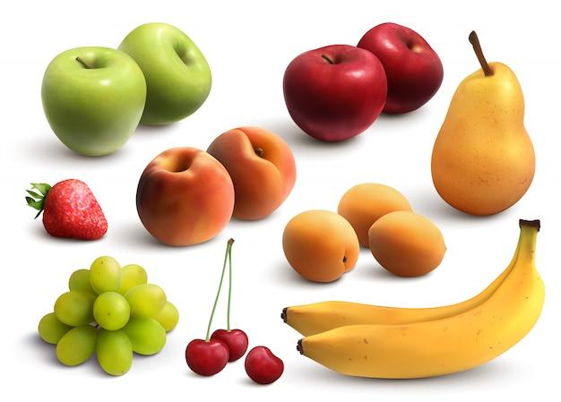 Conjunto realista de frutas