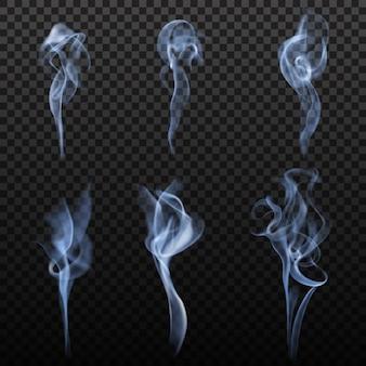 Conjunto realista de fumaça de cigarro