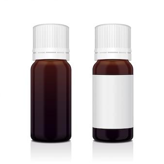 Conjunto realista de garrafa de óleo essencial marrom. frasco cosmético ou frasco médico, balão, ilustração de flacon