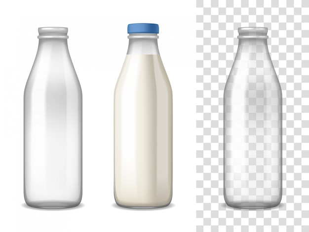Conjunto realista de garrafas de vidro de leite