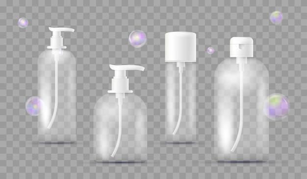 Conjunto realista de garrafas diferentes para produtos farmacêuticos, maquiagem isolada em xadrez transparente. com dispensador de sabão, shampoo, gel de banho, loção, leite corporal com bolhas de sabão. embalagem.