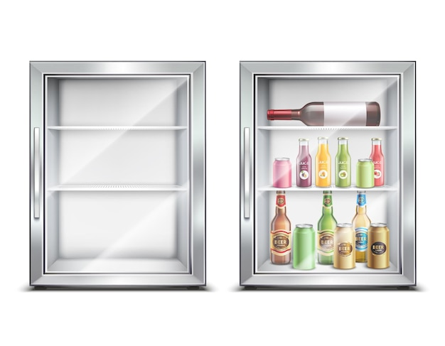 Conjunto realista de geladeira geladeira com dois mini-bar refrigerado pequeno isolado com porta brilhante
