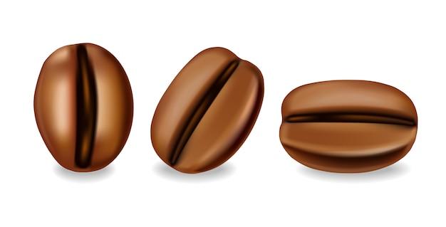 Conjunto realista de grãos de café, ilustração de fundo branco isolado