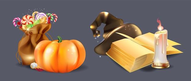 Conjunto realista de halloween para assistente