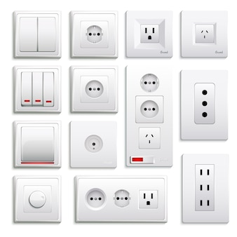 Conjunto realista de interruptores e soquetes