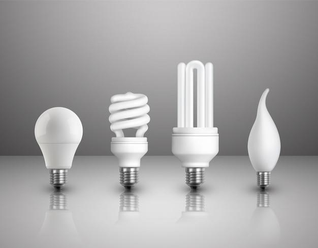 Conjunto realista de lâmpadas elétricas