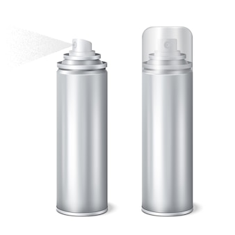 Conjunto realista de latas de spray de alumínio