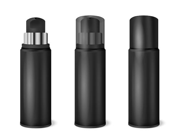 Conjunto realista de latas de spray preto