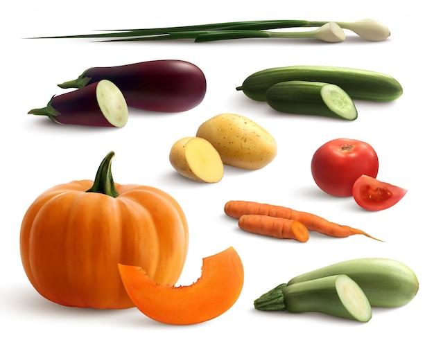 Conjunto realista de legumes cortados