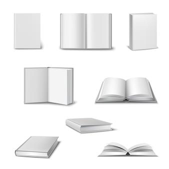 Conjunto realista de livros abertos e fechados 3d