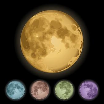 Conjunto realista de lua cheia isolada
