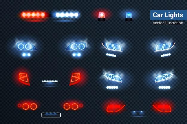 Conjunto realista de luzes de carro