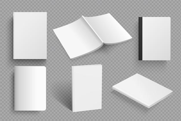 Conjunto realista de maquete de livro em branco conjunto de modelo de livro em diferentes tipos isolados em transparente