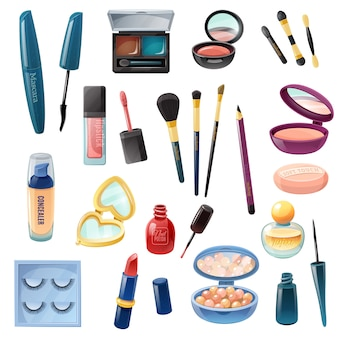 Conjunto realista de maquilhagem cosmética feminina