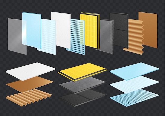 Conjunto realista de materiais em camadas
