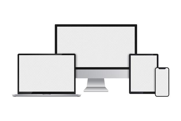 Conjunto realista de monitor de computador laptop tablet e smartphone com telas transparentes.