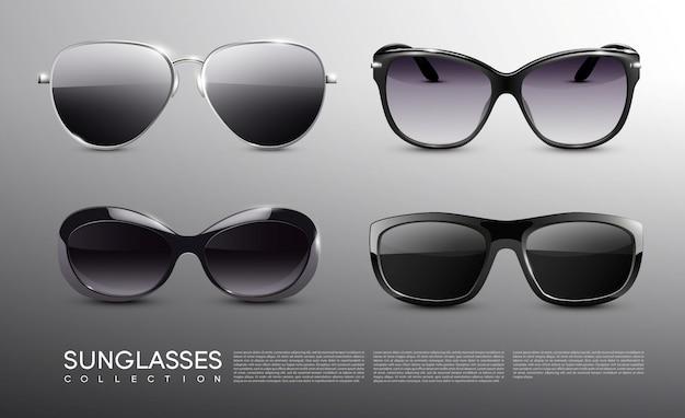 Conjunto realista de óculos de sol na moda