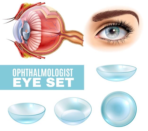 Conjunto realista de oftalmologia