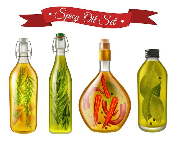 Conjunto realista de óleos picantes