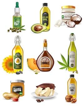 Conjunto realista de óleos vegetais
