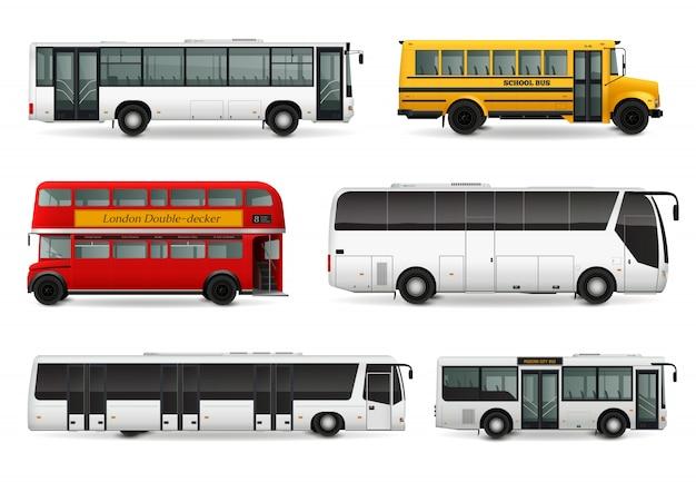 Conjunto realista de ônibus