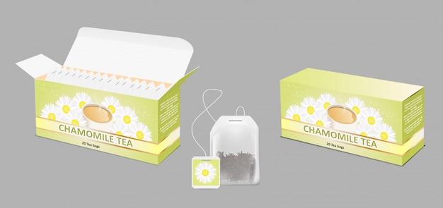 Conjunto realista de pacote de chá de camomila
