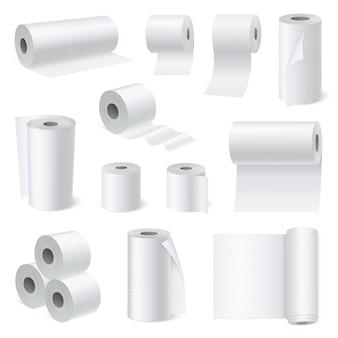 Conjunto realista de papel de rolagem de banheiro