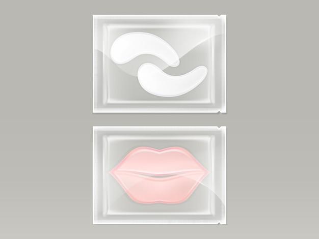 Conjunto realista de patches para lábios e olhos, com hidrogel