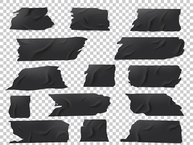 Conjunto realista de pedaços de fita adesiva preta de vários comprimentos e formas.