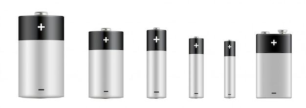 Conjunto realista de pilhas alcalinas. tipos de pilhas. tamanho - d, c, aa, aaa, aaaa, pp3. bateria alcalina com tamanho diferente.