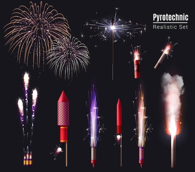 Conjunto realista de pirotecnia de luzes de bengala estrelinhas de pontos isolados de exibição de fogos de artifício e dispositivos pirotécnicos em ação
