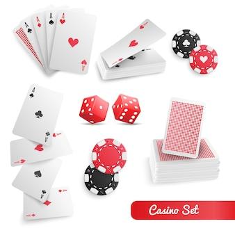 Conjunto realista de pôquer de cassino