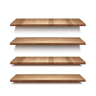 Conjunto realista de prateleiras de madeira vazias isoladas no fundo da parede branca