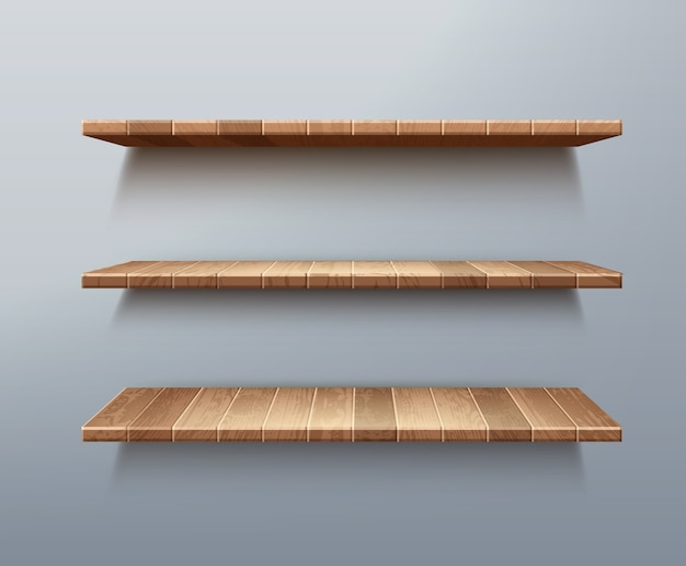 Conjunto realista de prateleiras de madeira vazias