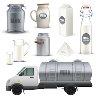 Conjunto realista de recipientes de leite