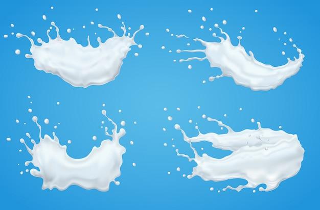 Conjunto realista de respingo de leite no fundo isolado.