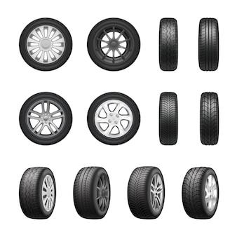 Conjunto realista de rodas de pneus