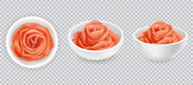 Conjunto realista de rosa gengibre em conserva. condimento de sushi rosa sobre fundo branco. especiaria asiática, vista superior e lateral. raiz de gengibre fatiado. ilustração