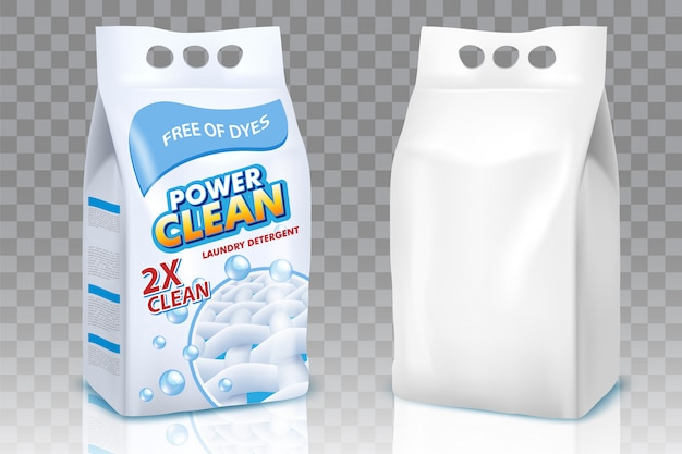 Conjunto realista de sacos de pó de lavagem