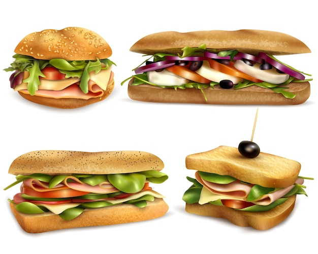 Conjunto realista de sanduíches frescos saudável ingrediente
