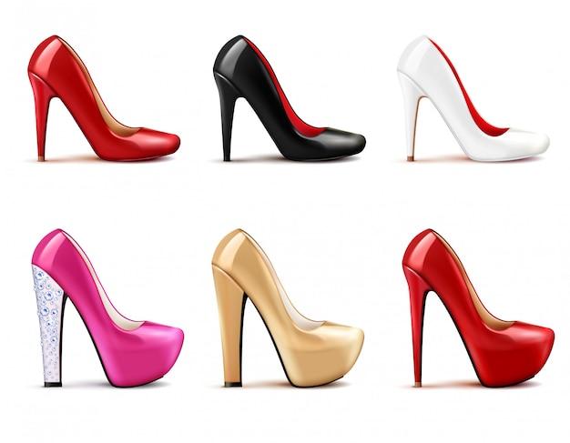 Conjunto realista de sapatos femininos
