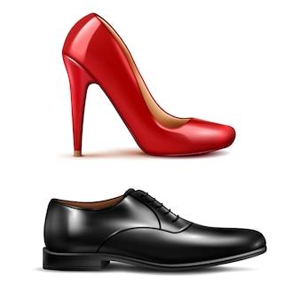 Conjunto realista de sapatos