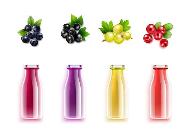 Conjunto realista de suco berry