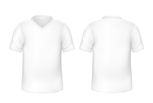 Conjunto realista de t-shirt branca frente e verso