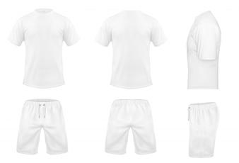 Conjunto realista de t-shirts brancas com mangas curtas e calções, sportswear, uniforme desportivo