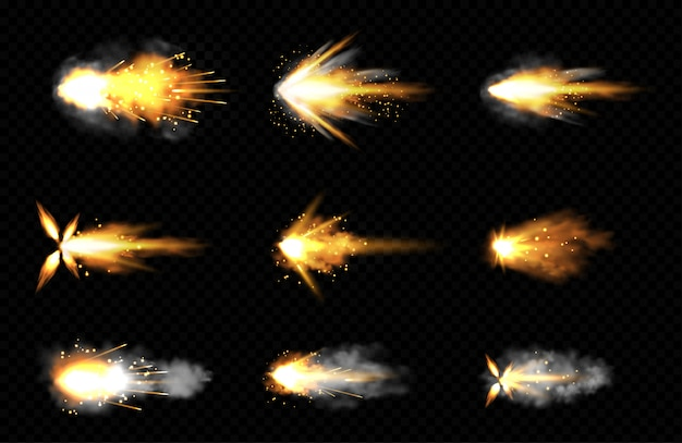 Conjunto realista de tiros com fogo e fumaça