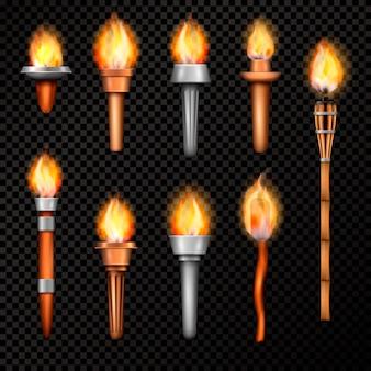Conjunto realista de tocha de fogo