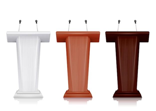 Conjunto realista de três tribunas coloridas com ilustração de microfones