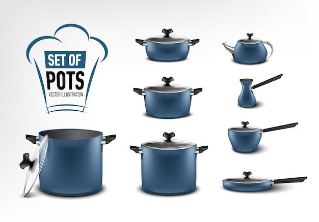 Conjunto realista de utensílios de cozinha azuis, potes de tamanhos diferentes, cafeteira, turco, guisado, frigideira, chaleira