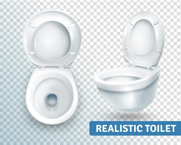 Conjunto realista de vaso sanitário